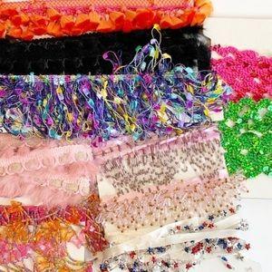 Sewing trim bulk lot bundle tassled beaded fur